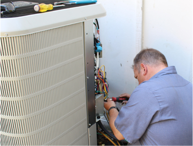 heating and cooling installation icon tech working
